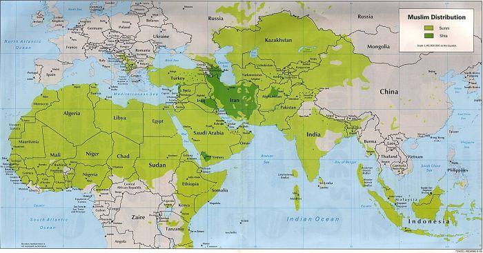 伊斯蘭世界內,遜尼派占絕大多數(圖中淺綠部份),什葉派(圖中深綠部份)圖片